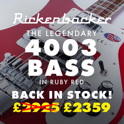 Rickenbacker's legendary 4003 now in stock in gorgeous Ruby Red! Great finance offers available.