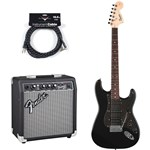 Squier Affinity Fat Strat HSS Montego Black Bundle