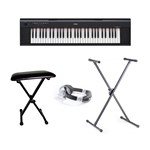 Yamaha Piaggero NP12 Digital Keyboard (Black) Bundle With Included Accessories