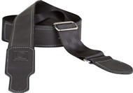 Boss BSH-20-BLK 2-inch Black Seatbelt With Black Leather Hybrid Guitar Strap