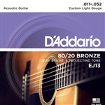 D'Addario EJ13 80/20 Bronze, Custom Light, 11-52