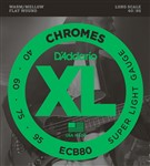 D'Addario ECB80 Chromes Flat Wound Bass, Long Scale, Light, 40-95