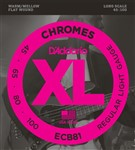 D'Addario ECB81 Chromes Flat Wound Bass, Long Scale, Light, 45-100