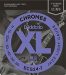 D'Addario ECG24-7 XL Chromes Flat Wound, 7-String, Light, 11-65