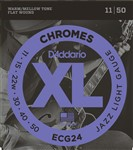 D'Addario ECG24 XL Chromes Flat Wound, Jazz Light, 11-50