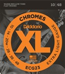 D'Addario ECG23 XL Chromes Flat Wound, Extra Light, 10-48