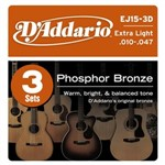 D'Addario EJ15 3D Phosphor Bronze Three Pack (Extra Light 10-47)