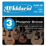 D'Addario EJ16 3D Phosphor Bronze Three Pack (Light 12-53)