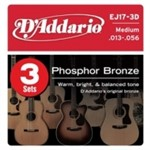 D'Addario EJ17 3D Phosphor Bronze Triple Pack Medium 13-56
