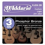 D'Addario EJ26 3D Phosphor Bronze Three Pack Custom Light (11-52)
