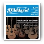 D'Addario EJ38 Phosphor Bronze 12 String Light (10-47)