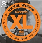 D'Addario EXL110 3D Nickel Regular/Light, 10-46, 3 Sets