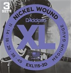 D'Addario EXL115 3D Nickel Jazz/Blues Rock Three Pack (11-49)