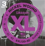 D'Addario EXL120 3D Nickel Super Light Three Pack (9-42)