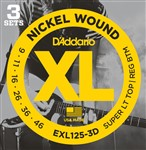 D'Addario EXL125 3D Light Top/Regular Bottom Three Pack (9-46)