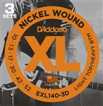 D'Addario EXL140 3D Light Top/Heavy Bottom Three Pack (10-52)
