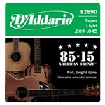 D'Addario EZ890 Great American Bronze 85/15 Super Light (9-45)