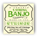 D'Addario EJ60 Nickel Wound 5-String Banjo Strings (9-20)