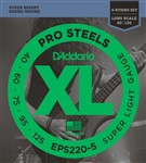 D'Addario EPS220-5 Pro Steels Bass, 5-String, Long Scale, Super Light, 40-125