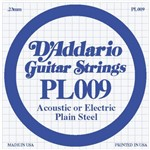 D'Addario PL009 Plain Steel Acoustic/Electric Single String, 9