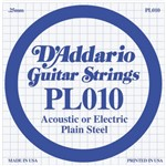D'Addario PL010 Plain Steel Acoustic/Electric Single String, 10