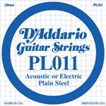 D'Addario PL011 Plain Steel Acoustic/Electric Single String, 11