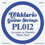 D'Addario PL012 Plain Steel Acoustic/Electric Single String, 12