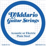 D'Addario PL015 Plain Steel Acoustic/Electric Single String, 15