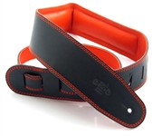 DSL GEG25 Garment Leather Strap, Black/Orange
