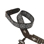 "DSL Jacquard 2"" Guitar Strap (Black Base w/ White+Light Blue)"