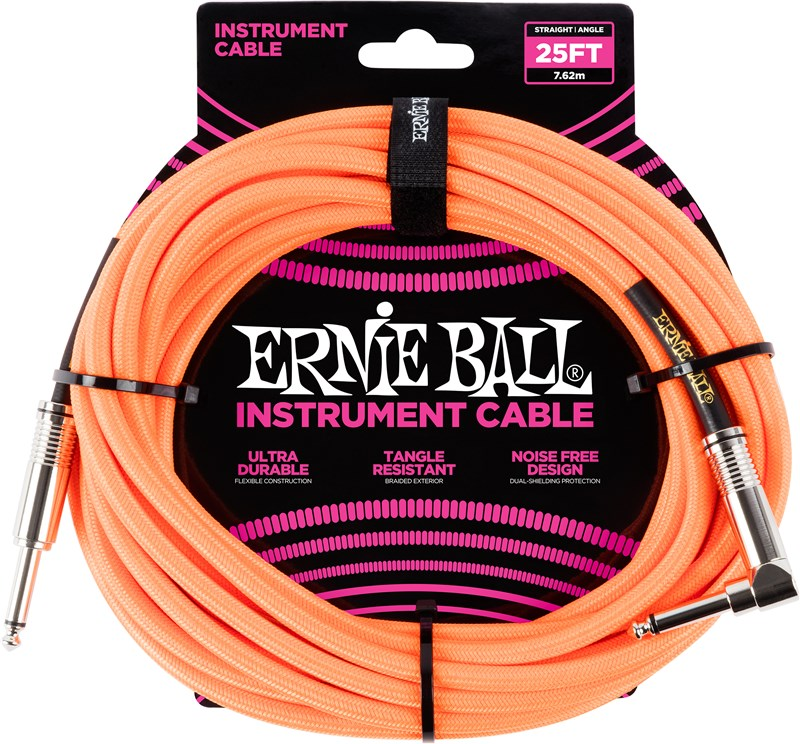 Ernie Ball Instrument Cable 25ft Neon Yellow Front