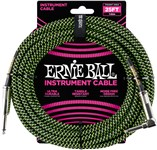 Ernie Ball Instrument Cable 25ft Black/Green Front