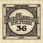 Ernie Ball 1436 Earthwood 80/20 Bronze Acoustic Single String, 36
