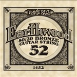 Ernie Ball 1452 Earthwood 80/20 Bronze Acoustic Single String, 52