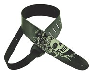 Henry Heller Leather Strap With Graphic (2.5 Inch, Voodoo Skull, HM25-03)
