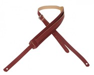 Levys M11 '50s Style Basic Leather Guitar Strap With Moveable Pad and Buckle (Burgundy)