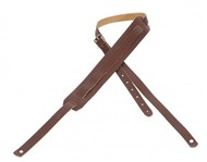 Levys M11 '50s Style Basic Leather Guitar Strap With Moveable Pad and Buckle (Brown)
