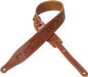 Levys MV17T10 Veg-Tan Leather Strap, Tribal Design, Walnut
