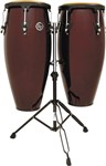 LP Aspire Conga Set with Double Stand (Dark Wood/Black)
