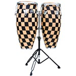 LP Aspire Accent Conga Set with Double Stand (Checkerboard)