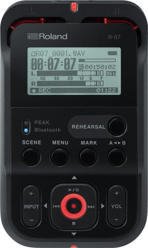 Roland R-07 Portable Audio Recorder Black Main