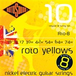 Rotosound R10-8 Roto Yellows Electric, 8-String, Regular, 10-74