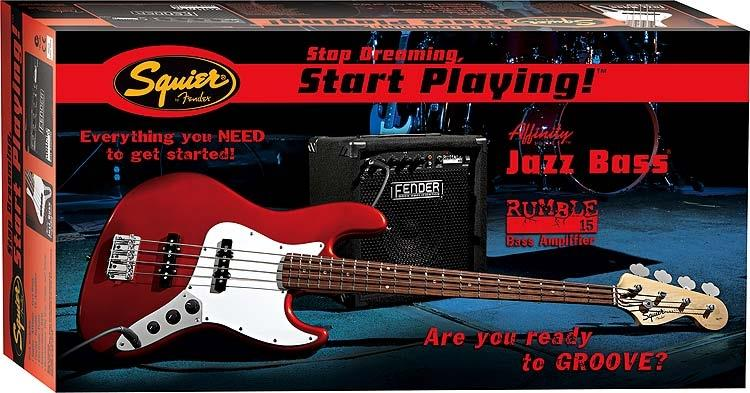 Squier Stop Dreaming, Start Playing Set: Affinity J Bass Pack with Fender Rumble 15 Amp (Black)