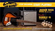 Squier Stop Dreaming, Start Playing Set: Jaguar Bass Short Scale with Fender Rumble 15 Amp (Brown Sunburst)