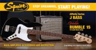 Squier Stop Dreaming, Start Playing Set: Affinity Series Jazz Bass with Fender Rumble 15 V3 Amp (Black)