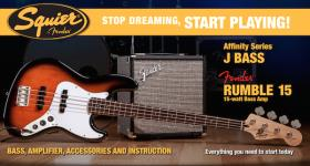 Squier Stop Dreaming, Start Playing Set: Affinity Series Jazz Bass with Fender Rumble 15 V3 Amp (Brown Sunburst)