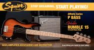Squier Stop Dreaming, Start Playing Set: Affinity Series Precision Bass with Fender Rumble 15 V3 Amp (Brown Sunburst)