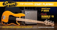 Squier Stop Dreaming, Start Playing Set: Affinity Series Precision Bass with Fender Rumble 15 V3 Amp (Butterscotch Blonde)