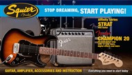 Squier Stop Dreaming, Start Playing Set: Affinity Series Strat HSS with Fender Champion 20 Amp Pack (Brown Sunburst)(Ex-Display)