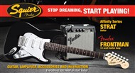 Squier Stop Dreaming, Start Playing Set: Affinity Series Strat Pack with Fender Frontman 10G Amp (Black)